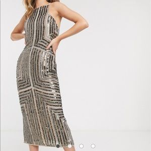 Asos Sequin midi pencil dress